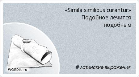 «Simila similibus curantur» Подобное лечится подобным