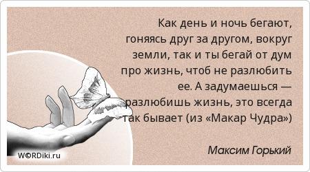 Как день и ночь бегают, гоняясь друг за другом, вокруг земли, так и ты бегай от дум про жизнь, чтоб не разлюбить ее. А задумаешься — разлюбишь жизнь, это всегда так бывает (из «Макар Чудра»)