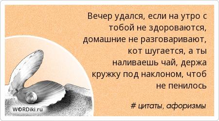 Вечер удался, если на утро с тобой не здороваются, домашние не разговаривают, кот шугается, а ты наливаешь чай, держа кружку под наклоном, чтоб не пенилось