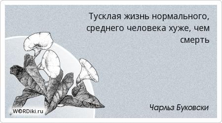 Тусклая жизнь нормального, среднего человека хуже, чем смерть