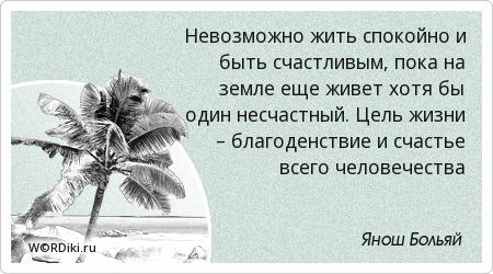 Невозможно жить спокойно и быть счастливым, пока на земле еще живет хотя бы один несчастный. Цель жизни – благоденствие и счастье всего человечества