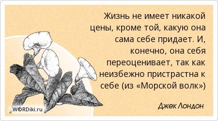 Жизнь не имеет никакой цены, кроме той, какую она сама себе придает. И, конечно, она себя переоценивает, так как неизбежно пристрастна к себе (из «Морской волк»)