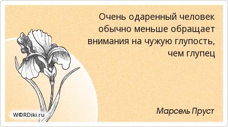 Очень одаренный человек обычно меньше обращает внимания на чужую глупость, чем глупец