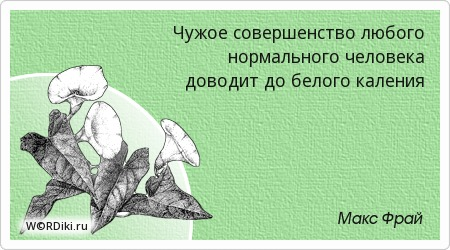 Чужое совершенство любого нормального человека доводит до белого каления